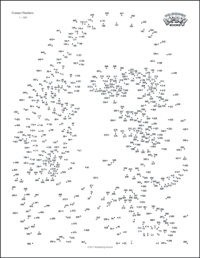 Gutsy image in connect the dots printable medium